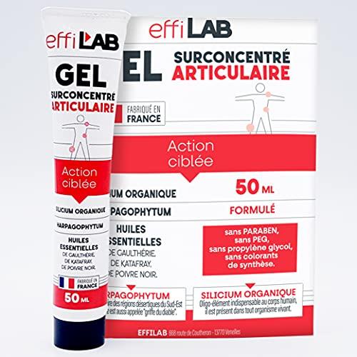 EffiLAB   Gel natural para las articulaciones y los músculos   50 ml   Bálsamo con silicio organico, Harpagofito (garra del diablo) y aceites esenciales