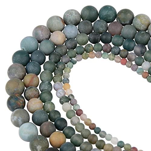 Cuentas de piedra natural de ojo de tigre esmerilado mate redondo pulido cuentas sueltas para fabricación de joyas de pulsera