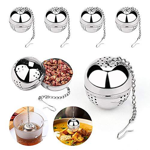 4 Stück Teefilter, 4cm Teeei, 304 Edelstahl Teesieb Mit Kette, Teesieb Aus Sehr Feiner Edelstahlgitterkette, Sehr Gut Geeignet Für Losen Tee und Gewürze
