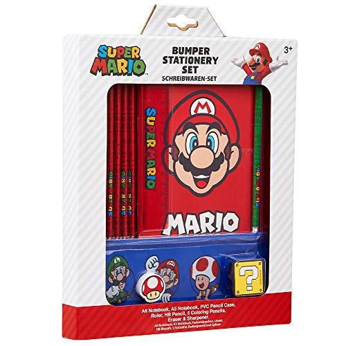 Super Mario Set Papeleria para Niños, Incluye Estuche Escolar de Mario Bros Cuaderno A6 y A5 Goma de Borrar Lapices de Colores Regla, Regalos para Niños Adolescentes