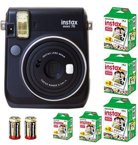 Bundle Fuji Instax Mini 70 Instant Camera Black + 100-shot Film + 2 Spare CR2 Battery : all you need to start Instant photography