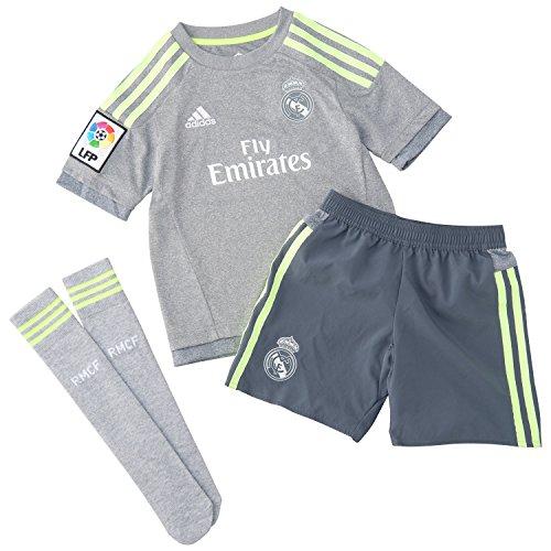 adidas Kinder Bekleidungsset Real Madrid Mini-Auswärtsausrüstung Baby, Grey/Syello, 164
