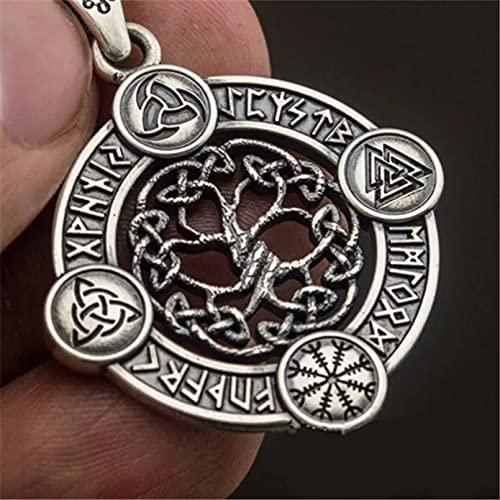 Chenfeng Collares de Hombre Amuleto Collar Triángulo Brújula Nudo Celta Hueco Árbol de la Vida Vintage Vikingo Regalo para Esposo Padre Novio Regalo de cumpleaños