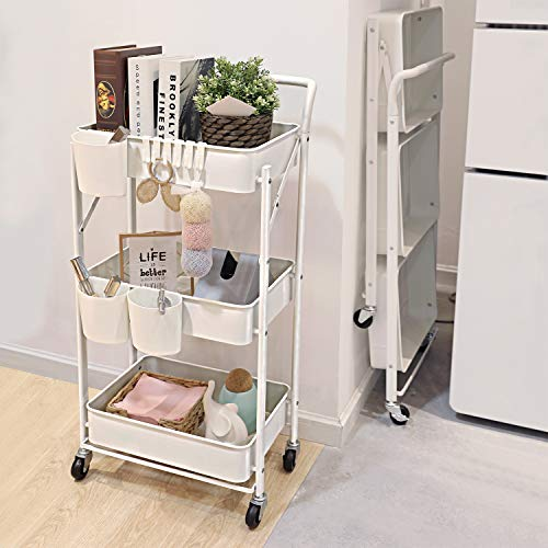 DTK 3 Tier Metal Foldable Rolling Cart No Need to Install Metal Mesh Basket Storage Cart with Handle and Wheels Kitchen Cart with 3 Small Baskets and 6 Hooks for Office Bathroom BedroomWhite