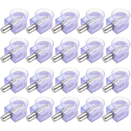 DyniLao - Clavijas de soporte para estante, soporte de abrazadera de vidrio, clavo de aleación de zinc, clavo de 5 mm de diámetro con ventosa, 20 piezas