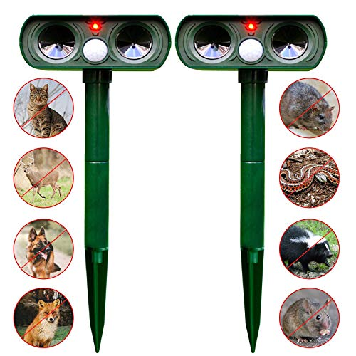 Solar Power Pest Animal Repeller, Cat Repellent Solar and Battery Powered Garden Dissuar for Cat Fox and Seagull That Works Really Two Dissuents for Gardens to Stop Animal Poo