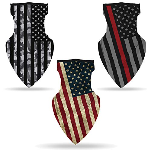 SRVOKOX 3 pcs American Flag Bandana Neck Gaiter Face Mask Covering Bandanas for Men Women Summer UV Cooling Face Scarf Mask Cover Ear Loop Hole Triangle Facemask Fishing Red Thin Line Red Grey Black