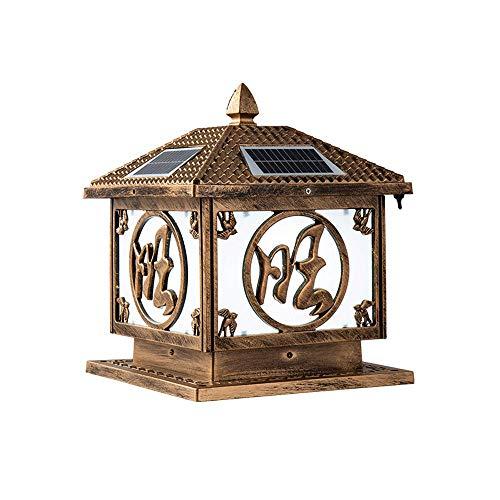 KAIKEA Linterna de Pilar de acrílico Solar para Exteriores Cuadrada de Bronce, decoración de Poste de Puerta Lámparas de Poste de Pilar Impermeables de Doble Uso, Enchufe eléctrico para Exteriores