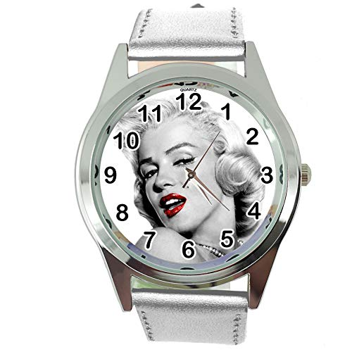 DREAMWATCH Womens Watch Analogue Quartz with Real Leather Band Silver Round Marilyn Monroe