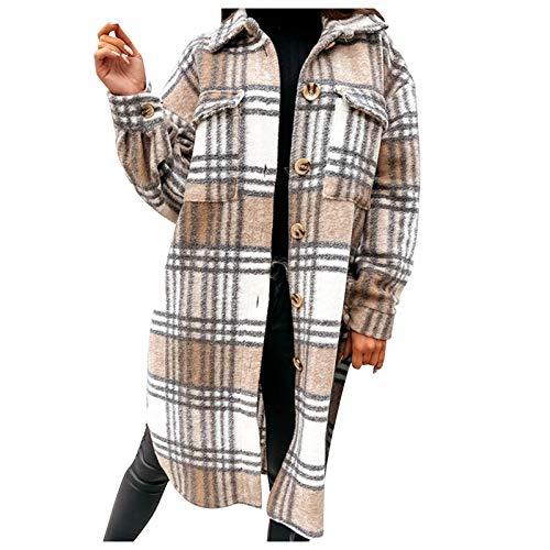 Zldhxyf Abrigo para mujer, chaqueta de camisa a cuadros, gran tamaño, parte superior de leñador, camisa a cuadros, blusa, a cuadros, botones, manga larga, moda boyfreind, blushirt larga, caqui, XXL