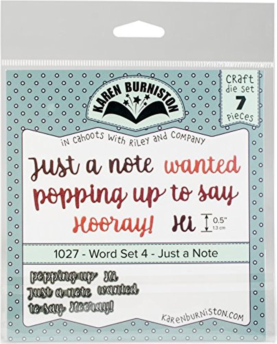 KB Riley Word Set 4 - Just A Note Karen Burniston Dies