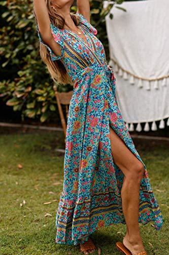 Vestido Mujer Bohemio Largo Verano Playa Fiesta Floral Manga Corta Cuello en V Talla Split Wrap Maxi Vestidos 6 L