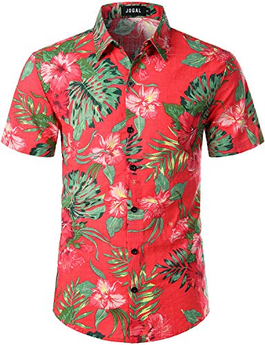 JOGAL Herren Floral Blumenmuster Hibiskus Kurzarm Hawaiihemd Large KoralleRot