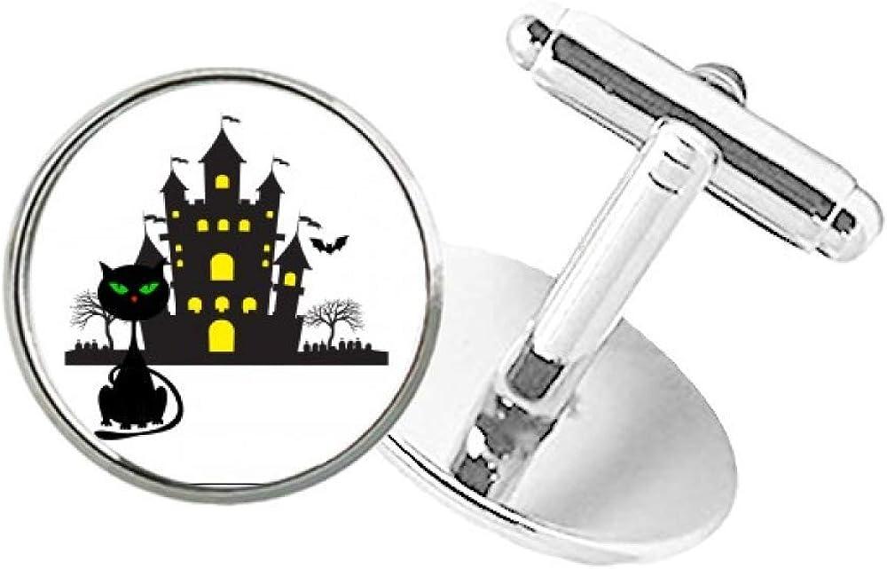 DIYthinker Halloween Horrible Gloomy Castle Cat Round Button Cuff Clip Stud Cufflinks