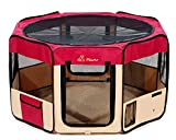 """Pawer 36""""×18.5"""" 8-Panel Foldable Pet Playpen, for Small Medium Cat/Dog/Puppy, Burgundy+Beige, 600D Oxford Cloth Portable Indoor & Outdoor Kennel with Carry Bag, Multiple Sizes & Colors Available"""