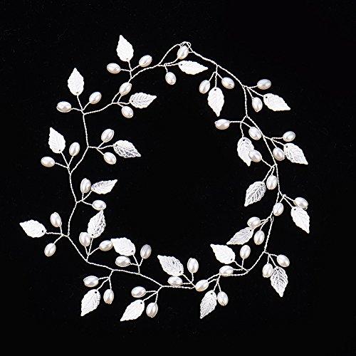 Oshide Weiß Perlengirlande Blatt Haar Accessoires, Braut Hochzeit Haarschmuck Brautschmuck(Silber) - 2