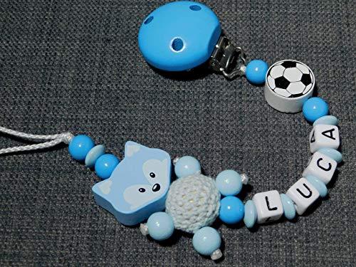 Schnullerkette mit Namen für Jungen in blau-hellblau mit Fuchs und Fußball -geschenk zur Geburt-Schnullerhalter