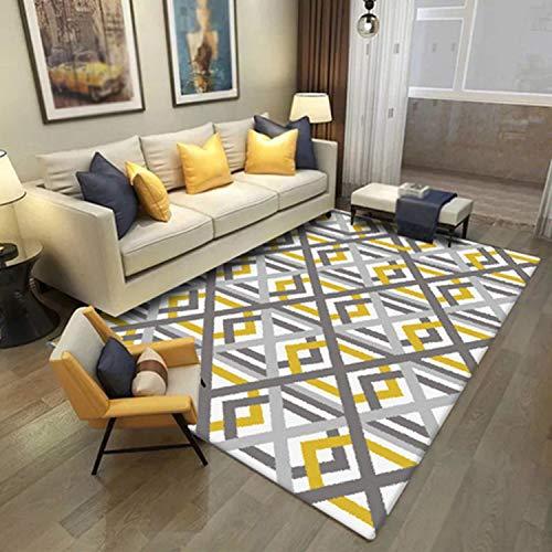 Große Kamin-Herd Teppiche, Teppiche Im Nordischen Stil Für Das Wohnzimmer Einfacher Gelb-grau Gestreifter Teppich Große Größe Hochwertige Hausmatte Moderne Dicke Wohnzimmer Teppiche-Teppich-45x75cm