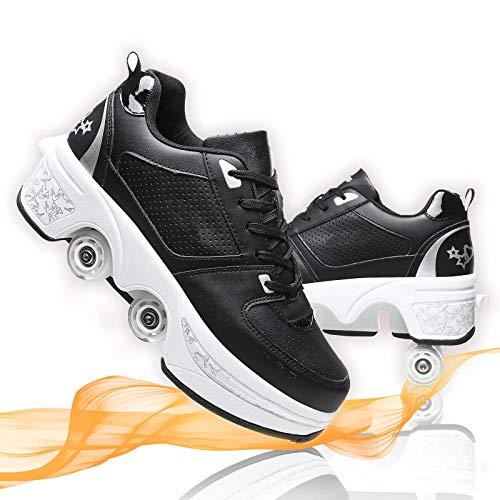 Deformar Patines De Ruedas Grandes Patines En Línea Ajustables Zapatos De Deformación De Doble Fila para Patines Caminar Unisexo,Black White,38