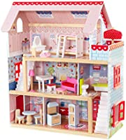 Kidkraft Chelsea Doll Cottage Wooden Dolls House with Furniture and Accessories Included (3 Storey Play Set for 30 cm/12...