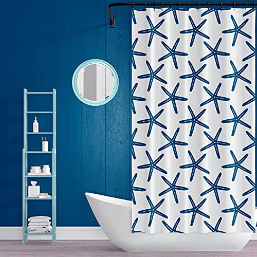 VEGA U Beach Starfish Shower Curtain for Bathroom, Nautical Home Decor with Hooks, 72x72 Inch