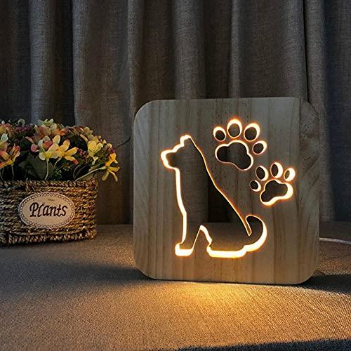 Acecorner Luz de Noche Usb Led de Madera Pata de Perro Gato Cabeza de Lobo Lámpara de Animal Novedad Dormitorio Para NiñOs Decoración 3d Luces de Mesa Regalo Para Niños