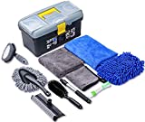 AUTODECO 10pcs Car Cleaning Tools Kit, Detailing Interiors Premium Microfiber Cleaning Cloth - Car Wash Mitt - Tire Brush - Window Water Blade with Storage Box