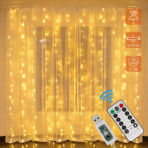 Zorara LED Light Curtain, 200 LEDs 2Mx2M USB Light Chain Curtain with 8 Modes Remote Control IP65 Waterproof LED Light Chain for Bedroom Wedding Party Christmas Indoor Outdoor Decoration (Warm White)