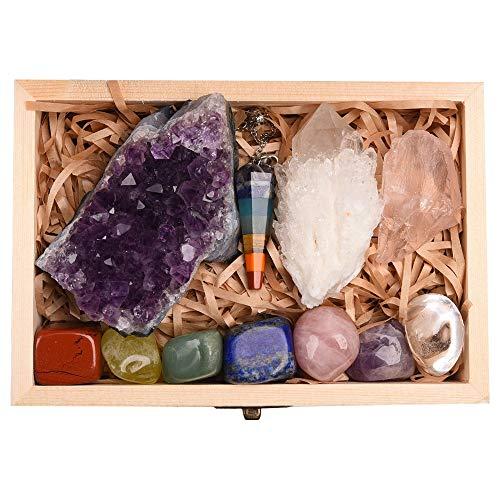 11pc Heilkristalle Set, Chakra Stones Kit in Geschenkbox Natürlicher Amethyst Cluster Quarz Kristall Mineral Probe Heilsteine Raues Erz Sieben Chakren Pendel Therapiestein