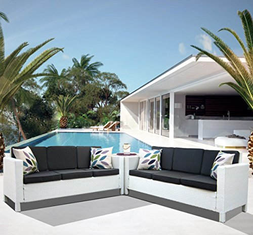 Luxurygarden Afef Ensemble canapés d'angle en rotin synthétique Salon de jardin Blanc