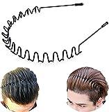 XINGZHE Metal Hair Bands for Men Women's Headbands, Unisex Black Wavy Spring Sports Headband for Men's Hair Band Hoop Clips Women Accessories Simple Elastic Non Slip Wide Headwear Bandeau Outdoors