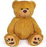 LotFancy Ours /Nounours en Peluche 43cm, Teddy Bear Peluche Doux Brun, Jouets Mignons avec des Empreintes de Pas, Cadeaux pour Enfants Bébé Pendant Anniversaire