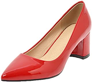 VogueZone009 Women's Patent Leather Closed-Toe Kitten-Heels Solid Pumps-Shoes