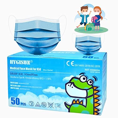 MASSIMO 007 50 Stück Medizinischer Mundschutz für Kinder Medizinische Kindermaske EN14683 Type IIR, BFE ≥ 99% Einwegmasken Kinder OP Masken .Chirurgische Masken für Kinder -