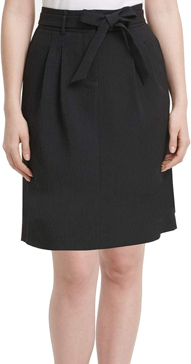 DKNY Women's Textured Pleated A-Line Skirt with Self-Tie Belt