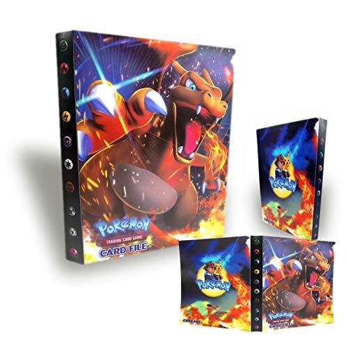 TUXUNQING Tarjetero Pokémon, Álbum de Cartas Coleccionables Pokémon, Álbum de Entrenador de Cartas Pokémon GX EX. El álbum Tiene 30 páginas y Puede Contener 240 Tarjetas. (Charizard)