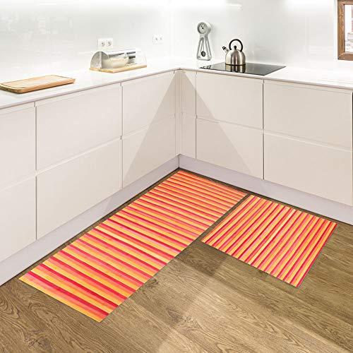IlGruppone Set di 2 tappeti da Cucina Antiscivolo e Lavabili passatoia Cucina,Ingresso,Camera - RossoDegrade