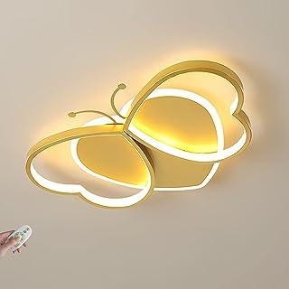 LANTING dimbar med fjärrkontroll LED-taklampa Gul fjäril Barns taklampa Tecknad flickrums taklampor Akryljärn Art Deco Sti...
