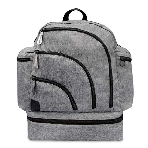Travel Bug Deluxe Diaper Bag Backpack with Changing Pad, Heathered Grey