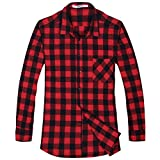 OCHENTA Men's Button Down Plaid Flannel Shirt, Long Sleeve Casual Tops N056 Red Black Asian 3XL - US L