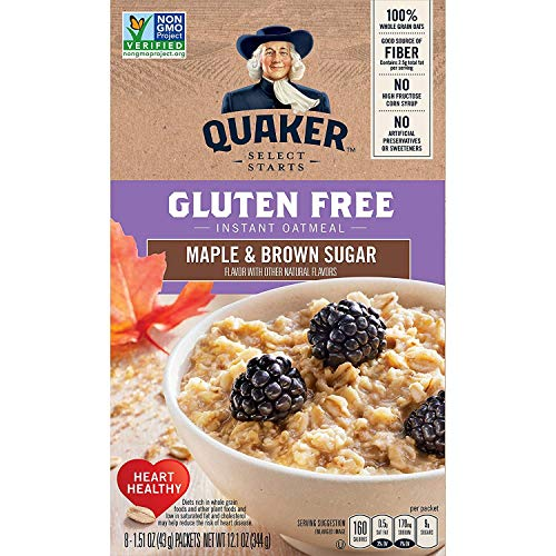 Quaker Select Starts Gluten Free Instant Oatmeal, Maple and Brown Sugar, 12.1 oz Box - 8-1.51 oz Packets