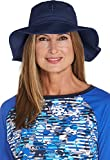 Coolibar UPF 50+ Women's Brighton Chlorine Resistant Bucket Hat - Sun Protective (Small/Medium- Navy)