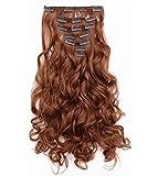 OneDor 20' Curly Full Head Clip in Synthetic Hair Extensions 7pcs 140g (Medium Auburn-30#)