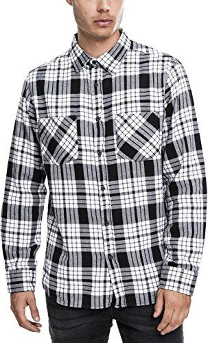 Urban Classics - Hemd Checked Flanell Shirt 2, Maglia a maniche lunghe Uomo, Multicolore (Wht/Blk), Large (Taglia Produttore: Large)