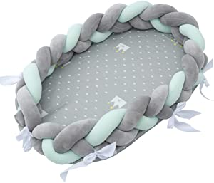 AIBAB Multifunctional Washable Baby Nest Bed Bumper Knotted Pillow Cotton Detachable Braided Baby Bionic Bed 0-1 Years Old 80 50 20