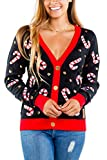 Women's Sequin Candy Cane Cardigan - Cute Candy Cane Christmas Sweater: M Black