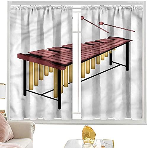 Cortinas de bloqueo de luz Marimba, batidores de madera percusión W52 x L72 pulgadas cortinas opacas con bolsillo para barra