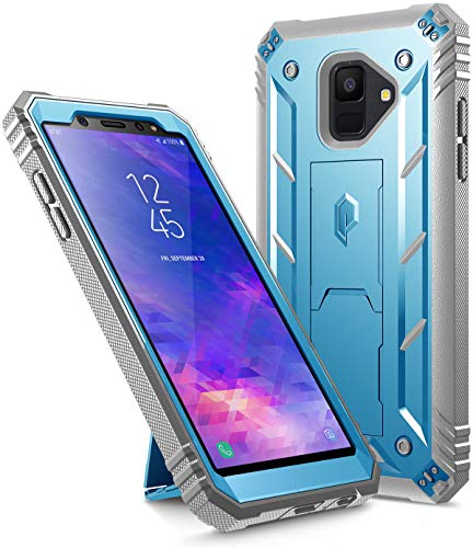 Galaxy A6 Kickstand Rugged Case, Poetic Revolution Full-Body Rugged Heavy Duty Case with [Built-in-Screen Protector] for Samsung Galaxy A6 (2018)(Do not fit Galaxy A6 Plus) - Blue