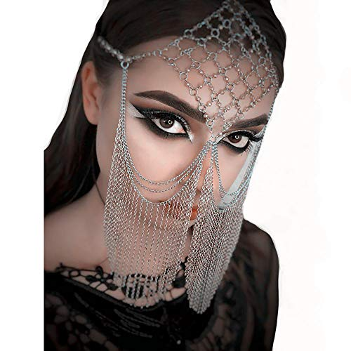Sexy Veil Gold Chain for Women,Belly Dance Costume Headwear,Fringe Masquerade Mask, Hair Band Face Chain,Silver