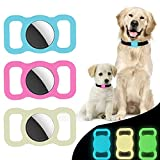 Airtag Holder Compatible with Apple Air Tag, 3-Pack Silicone Case for Air Tag Dog Collar Holder, GPS Tracking Dog Collar Pet Loop Holder for AirTag Accessories for Pet Dog Cat Backpack Bag-Luminous